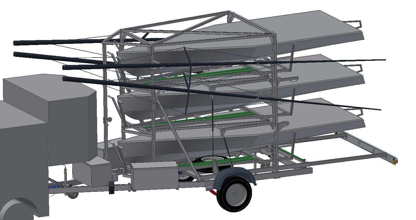 Der fertige Bootsanhänger (CAD, 3D)