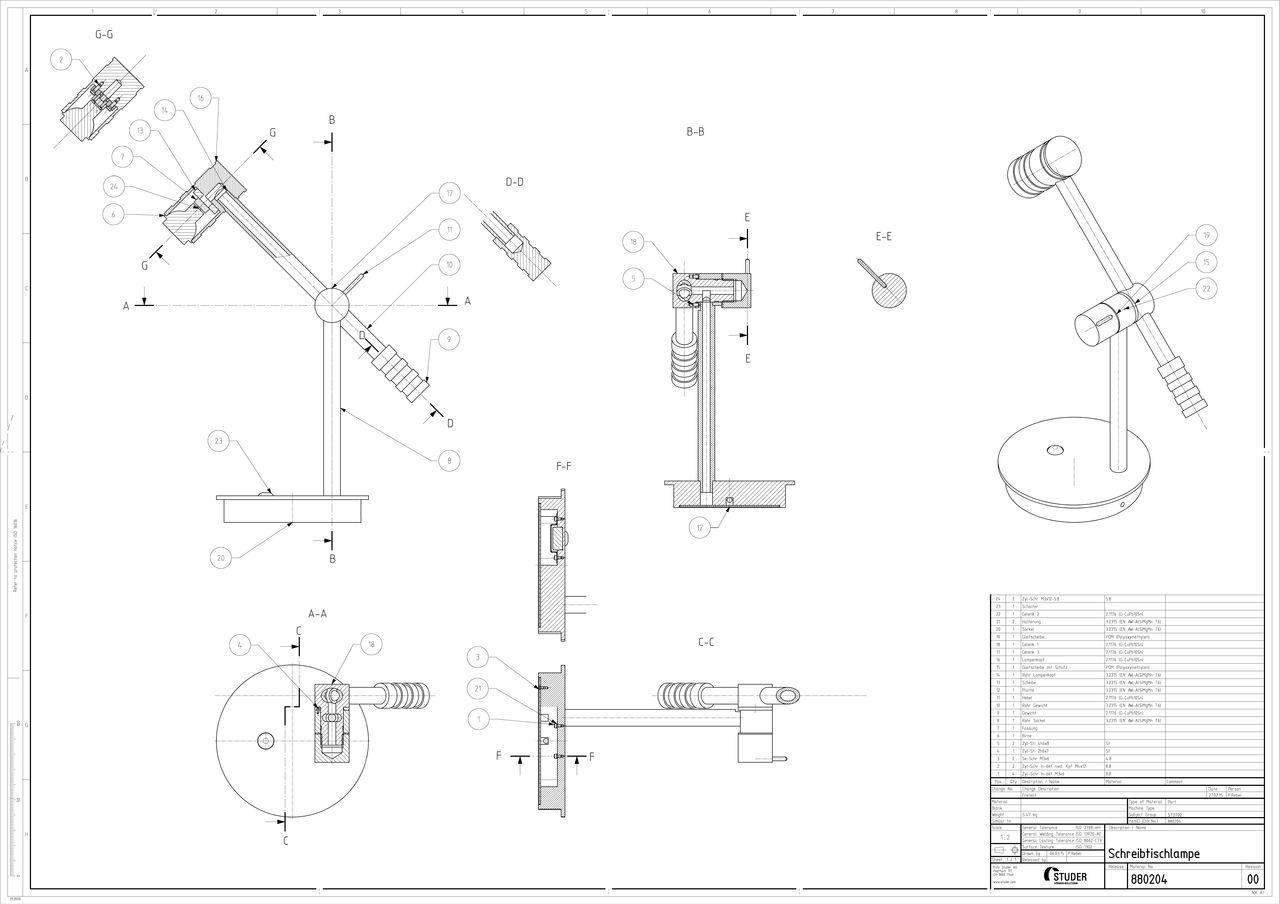 Werkstattzeichnung der Baugruppe der Tischlampe