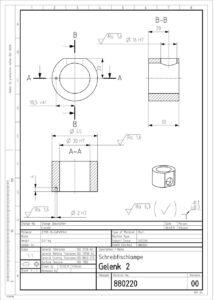 Werkstattzeichnung eines Einzelteils