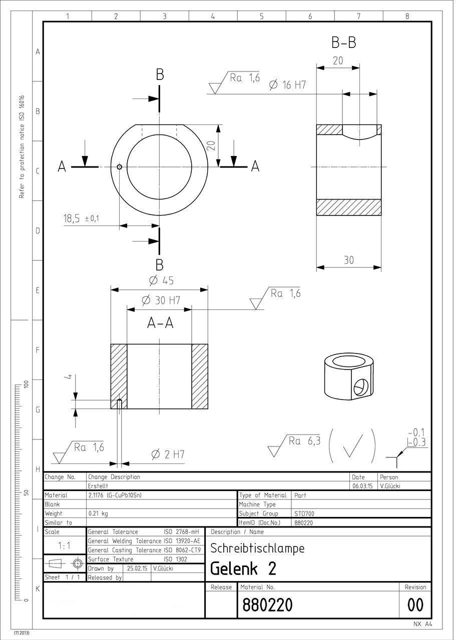 Werkstattzeichnung eines Einzelteils der Tischlampe